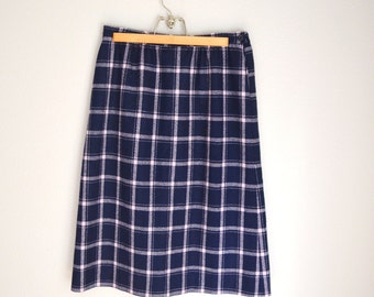 Vintage 80s Pastel Pink and Navy Blue Plaid PENDLETON Wool Skirt // size 10/ 12