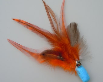 Cat Toy Bright Blue and Orange Feather Flier with Catnip and Bell