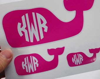 whale vinyl sticker with monogram, your choice of colors
