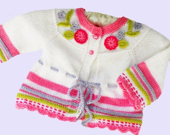 Knitted baby sweater, white baby  sweater , baby girl cardigan, baby clothes, knitted baby sweater with embroidery, CUSTOM
