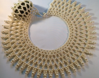 Pearl Beaded Egyptian Collar Necklace