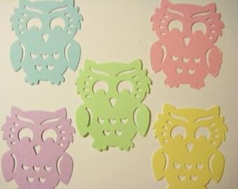 25 Large Pastel Owls punch die cut confetti scrapbook embellishments E1627