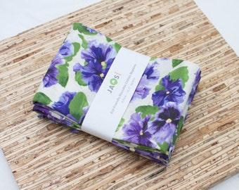 Large Cloth Napkins - Set of 4 - (N2877) - Violet Blue Flowers Modern Reusable Fabric Napkins