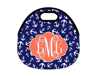 Monogrammed Lunch Tote, Monogrammed Lunchbox, Personalized Lunch Box, Anchor Nautical Navy Coral
