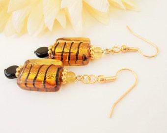 Gold Striped Earrings, Lampwork Earrings, Gold Glass Earrings, Black Glass Earrings, Black Beaded Earrings, Gold Black Jewelry