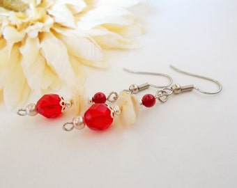 Scarlet Red Earrings, Red Coral Earrings, Natural Shell Earrings, Seashell Earrings, Beach Earrings, Bohemian, Ivory Pearl Beaded Earrings
