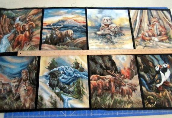 North American Wildlife 24x44 premium cotton fabric panel designed by Jody Bergsma for Robert Kaufman