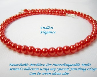 Shop CLOSING SALE, Bright Coral Orange Glass Pearl for Interchangeable Multi Strand Collection, deep sunset orange detachable multi wear