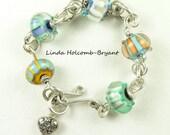 Bracelet of Stripe Lampwork Beads