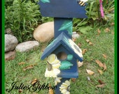 Bee Happy Handmade Hand Painted Birdhouse Stand Primary Blue Big Beautiful Sun Flowers