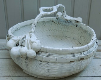 Vintage White Woven Fruit Basket / Decorative Basket / Shabby Chic Basket / Cottage Decor / Gesso Fruit / Gesso Cherries