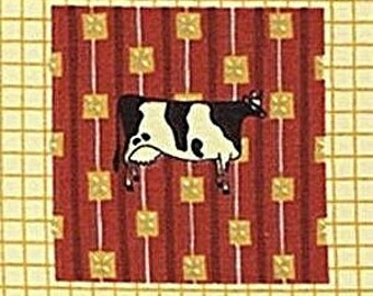 Warren Kimble Fabric COW Farm Folk Art Americana Collection Cotton Border Fabric