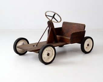 vintage toy riding car, wooden push car