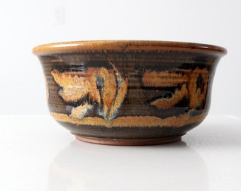 mid century studio pottery bowl, ceramic art bowl