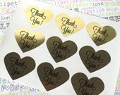 "24 Gold Heart Thank You Stickers, Gold Foil Heart Labels for Wedding Favors - 1.5"" x 1.5"""