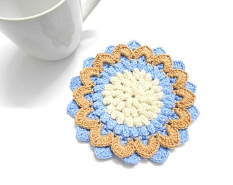 Crochet LOTUS Coaster 1pc, Cream Beige Blue Circle Round Pad, Water Absorb 100% Cotton Yarn 5.8 inches Washable