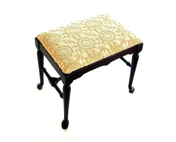 Antique Vanity Bench Vintage Wooden Stool Ecru Crochet