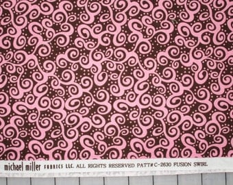 "Michael Miller Fusion Swirl Pink and Brown fabric 47"" X 42"""