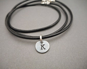 Mens Necklace - Initial Necklace - Initial Jewelry - Monogrammed Necklace - Mens Jewelry - Leather Cord - Leather Necklace - Gifts for Him