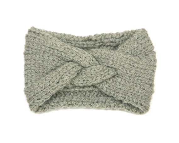 Soft Sage Braided Headband in Alpaca Merino wool, hand knit ear warmer made in Canada