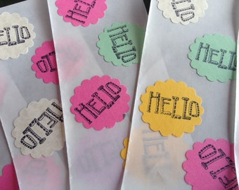 "Hello colourful scalloped circle stickers, embellishment, say ""Hello"" on a note card, sticker seal for an envelope, party favour, Love Notes"