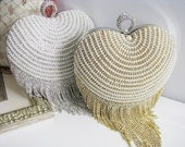 Wedding Bag Clutch Formal Evening Bag with Faux pearl and Loads of Shimmy Sparkle Heart Shaped