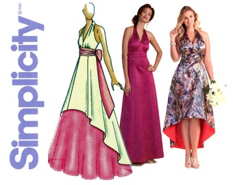 Womens Dress Pattern Uncut Simplicity 1406 Tulle Underskirt Maxi High Low Hem Halter Special Occasion Evening Cocktail Dress Sewing Patterns