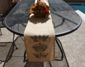 "Burlap Table Runner-Table Runner-Natural Burlap-Royal-Monarch-King-Queen-Crowns-10-1/2-69""-Crowns print on both ends-Custom orders welcome"