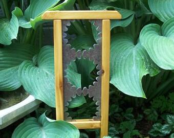 Mini Garden Decor, Cedar and Steel Garden Accent Piece, Rock Garden Decor, Fairy Garden Accessory