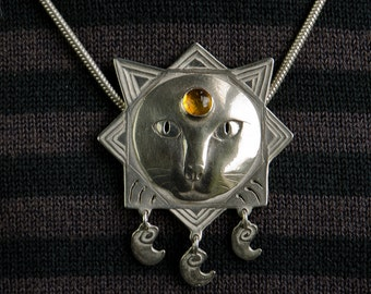 Cat Pendant - sterling silver leo