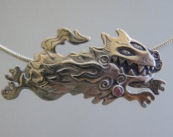 Pele's Dog Pendant - Sterling Silver Necklace