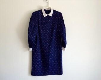 1980s rainbow polka dot pleated shift dress / shirt dress