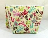 Knitting Project Bag - Medium Zipper Wedge Bag in Bright Bird Fabric with Aqua Polka Dot Lining