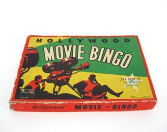 Vintage Movie Bingo Hollywood Stars Card Game Hepburn Chaplin Garbo Craft Art Home Theater Media Decor Graphics