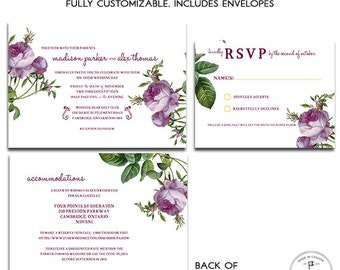 Vintage Rose, Plum Purple Antique Wedding Invitation Set, Cabbage Rose Flowers, Merlot, Double-sided Invitation Set with Reply Card