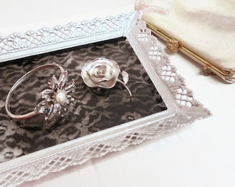 Vintage Black And Silver Vanity Tray: Updated Upcycled Glass and Brass