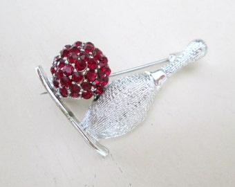 Bowling Pin Ball Brooch Pin // Silver Ruby Rhinestone Jewelry Gift