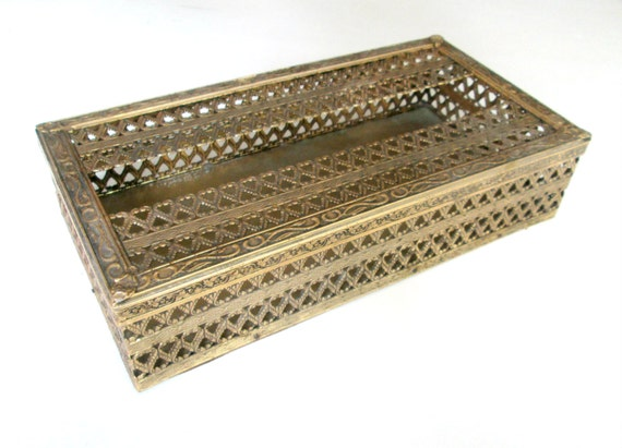 Hollywood Regency Vanity Tissue Box Antique Gold Metal