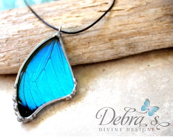 Iridescent Real Blue Butterfly Pendant, Blue Morpho, Real Butterfly