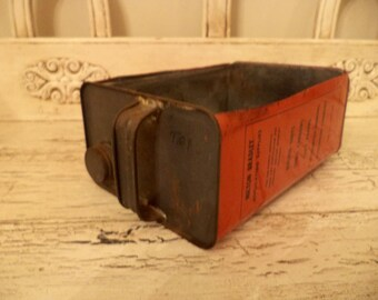 Upcycled Metal Bin for Storage - Oil Can Drawer - Storage Bin Made From an Old Oil Can