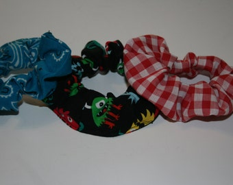 Scrunchie set of three red white check/teal bandana/black and multicolor monsters