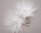 Freshwater Pearl Bridal Hair Flowers, Pure Silk Wedding Hair Flowers, Wedding Hair Pin, Bridal Hairpin, Beach Wedding Hair Accessory Flower