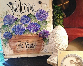 Hydrangea welcome sign 10x12 original hand painted slate