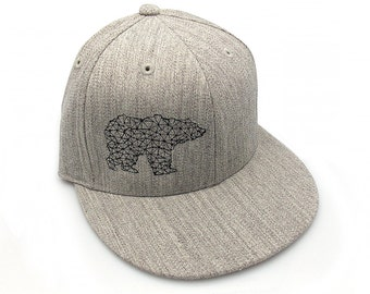 Bear Made of Triangles - Men's/Unisex Hat - All Sizes Available - Pro Fitted or Snapback