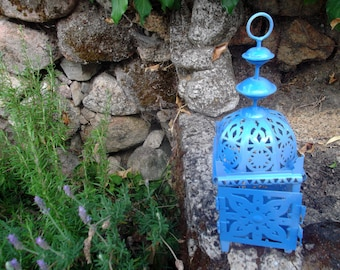MOROCCAN CANDLE  LANTERN, Greek blue, weddings, romantic, lighting, candle holder, home decor