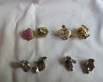 Various Vintage Clip On Earrings