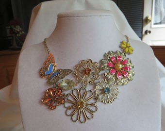 """19"""" Butterfly and Flower Cluster Necklace with Lobster Claw Clasp"""