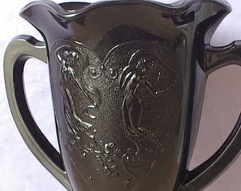 Antique 1930's  black glass vase with nymps, glass urn vase, double handle vase, art nouveau bedroom decor, lesbian gift, Antique glass