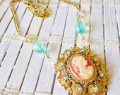Cameo Necklace Upcycled Vintage Style OOAK Treasure Light Blue Mint Peach Gold