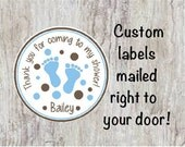 Baby Shower Round Thank You Favor Stickers Personalized Blue and Brown - Baby Boy Feet Labels for Party Favors  ***DISCOUNTS AVAILABLE***
